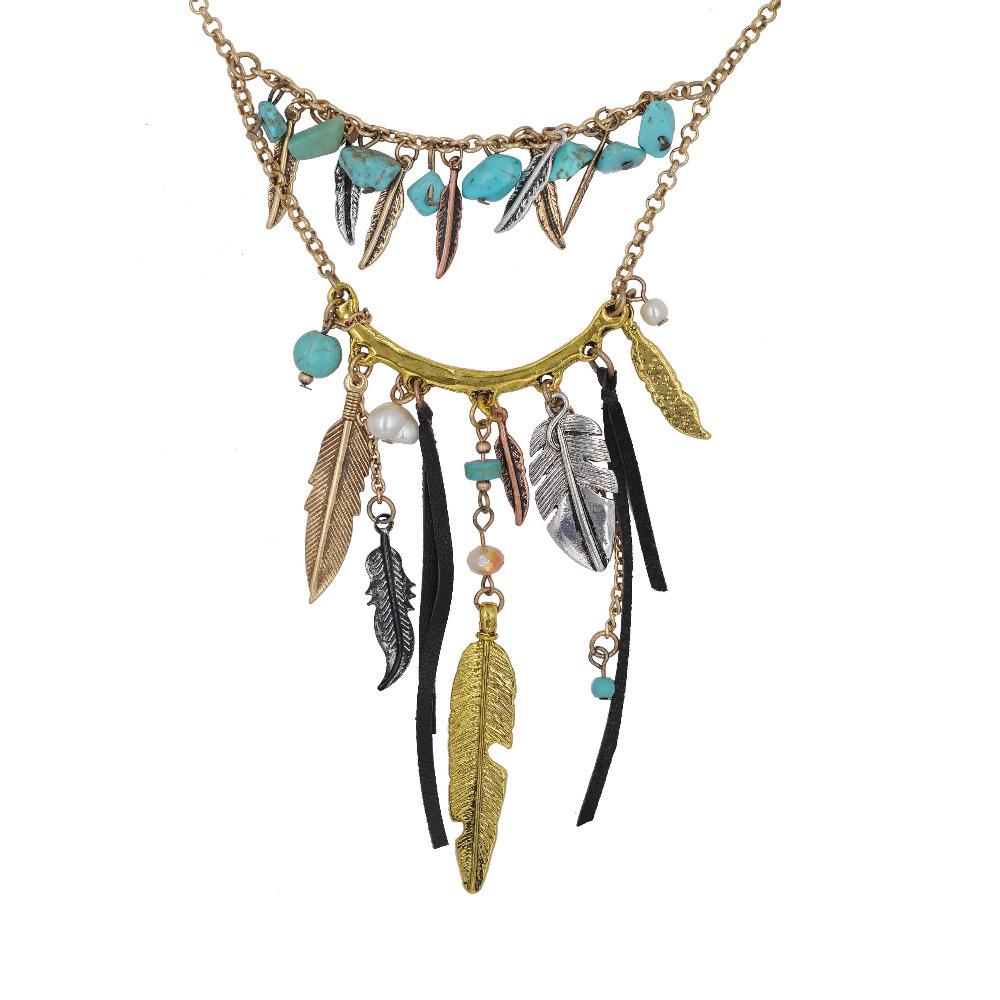 High Quality hot sell metal small beads Vintage Jewelry Feather Leaf And Nature Turquoise Leather Necklace Charming Woman's(China (Mainland))