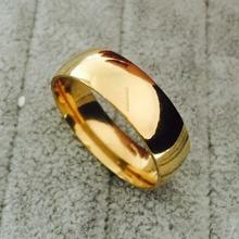 Nunca desvanecimento anéis de casamento clássico de 8 milímetros 24K amarelo ouro enchido anéis de aço 316L de titânio para homens e mulheres de jóias Tamanho 6-13