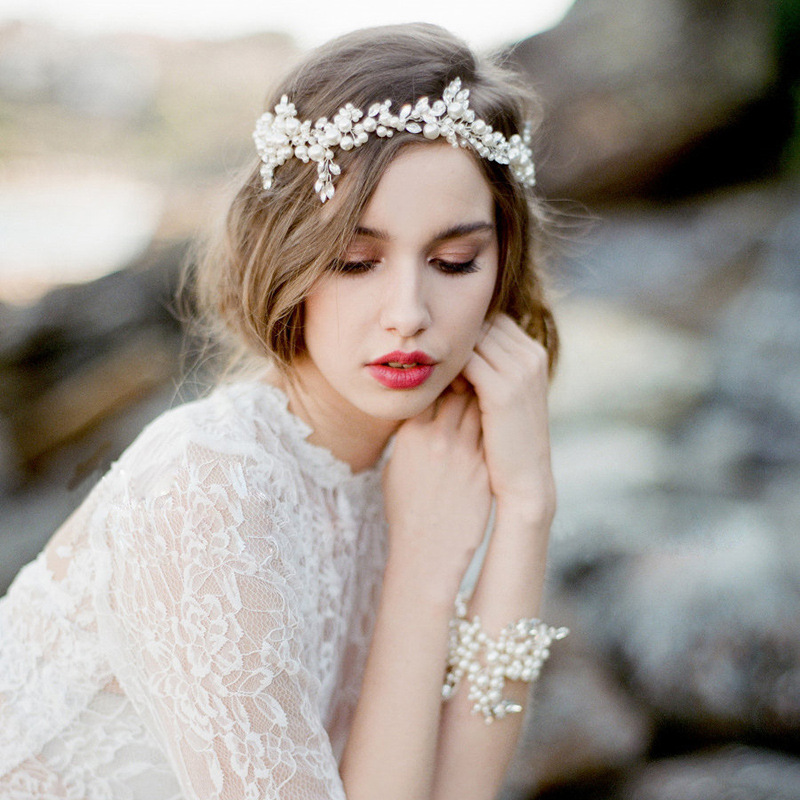 Hot Bridal Imitation Pearl Rhinestone Headbands Headpiece Flower Shape Wedding Hair Accessories Hair Jewelry Hair Clip D0040(China (Mainland))