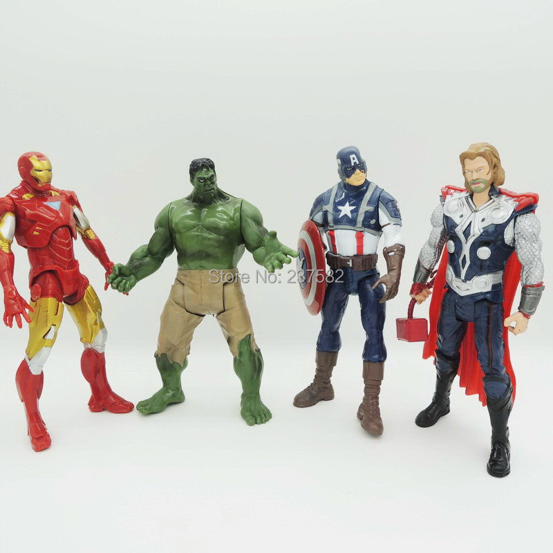 "New 8"" 20CM 4pcs/set PVC Action Figure The Avengers Super Heroes Captain America Thor Hulk IronMan Collection Model Toys Dolls(China (Mainland))"