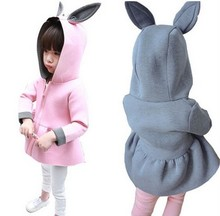 2015 Kid Children Girl Fashion Vogue Air cotton Rabbit ears Outwear Long Sleeve zipper Parka Jacket  bunny suit jacket 1002(China (Mainland))