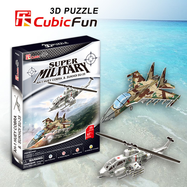 AH-1 Huey Cobra & Sukhoi SU-35 cubic fun P628H 35+67pcs 3D Puzzle military paper model DIY kids  Educational toys free shipping