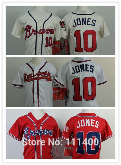 Free Ship 2014 Kids Atlanta Braves #10 Chipper Jones red white cream Baseball Jersey Embroidery logos US Size:youth S M L XL(China (Mainland))
