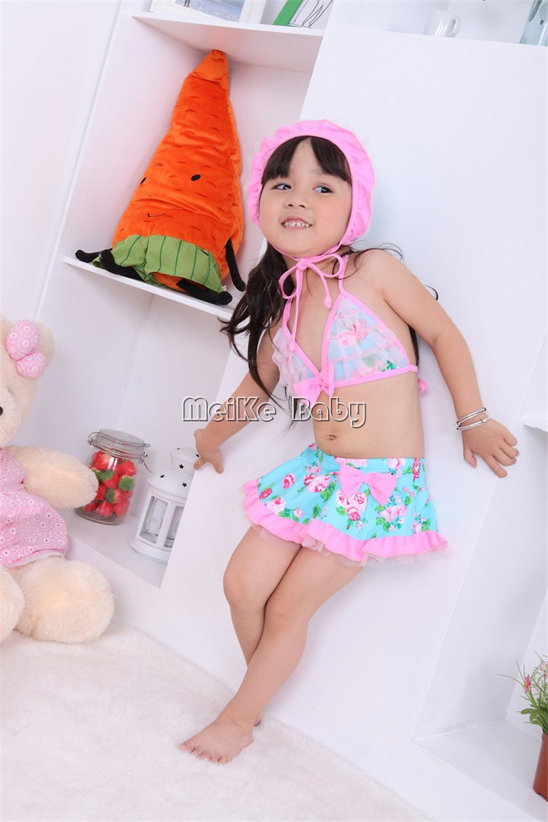 cute rose print baby girl bikini swimwear 3pcs/set beachwear/kid's swimwear/fashion 5set/lot
