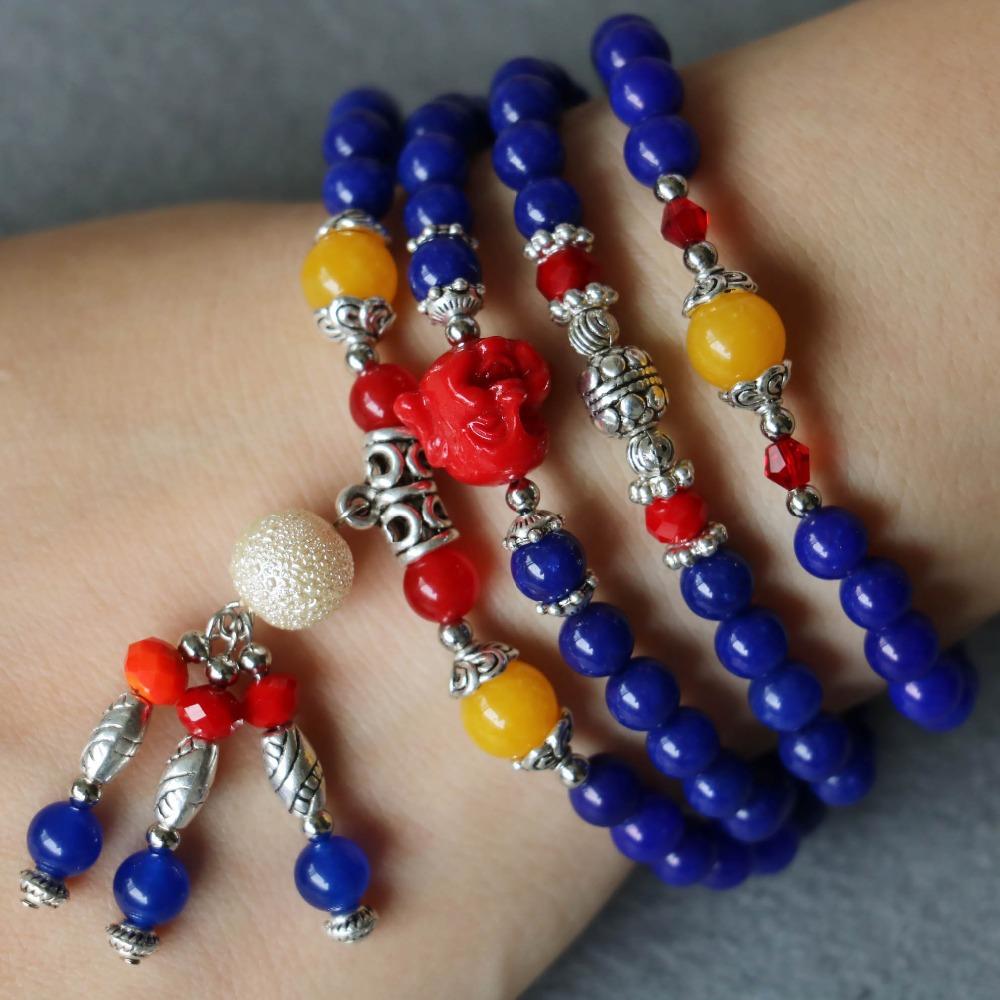 2015 6mm Lapis Lazuli Bracelet Tassel Beads Pendant Red Jade Crystal Jewelry Bracelet Multilayer Chain Necklace Natural Stone(China (Mainland))