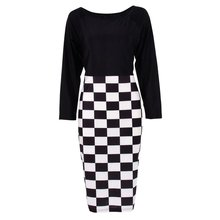 Women Patchwork Tartan Check Plaid Wear Work Business Party Bodycon Sexy Dress
