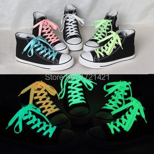 2015 New fashion sports luminous shoelaces glow in the dark color fluorescent shoelace flat shoe laces 120cm 5colors 2pcs(China (Mainland))