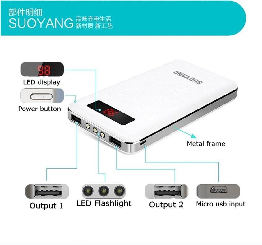 Wholesale 5pcs/Pack Suoyang Universal 18650 POWER BANK 20000MAH Powerbank 20000 MAH for iPhone 5 Charge 10 times