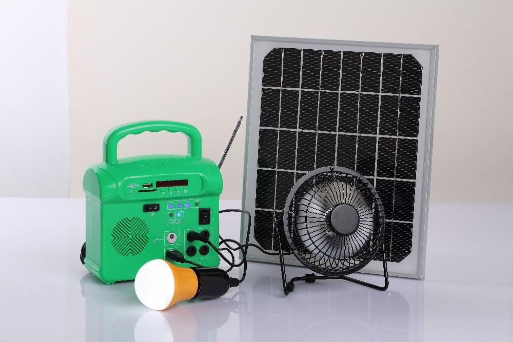 10w small solar power system 10w solar light+mp3/radio+fan+4pcs solar light(China (Mainland))