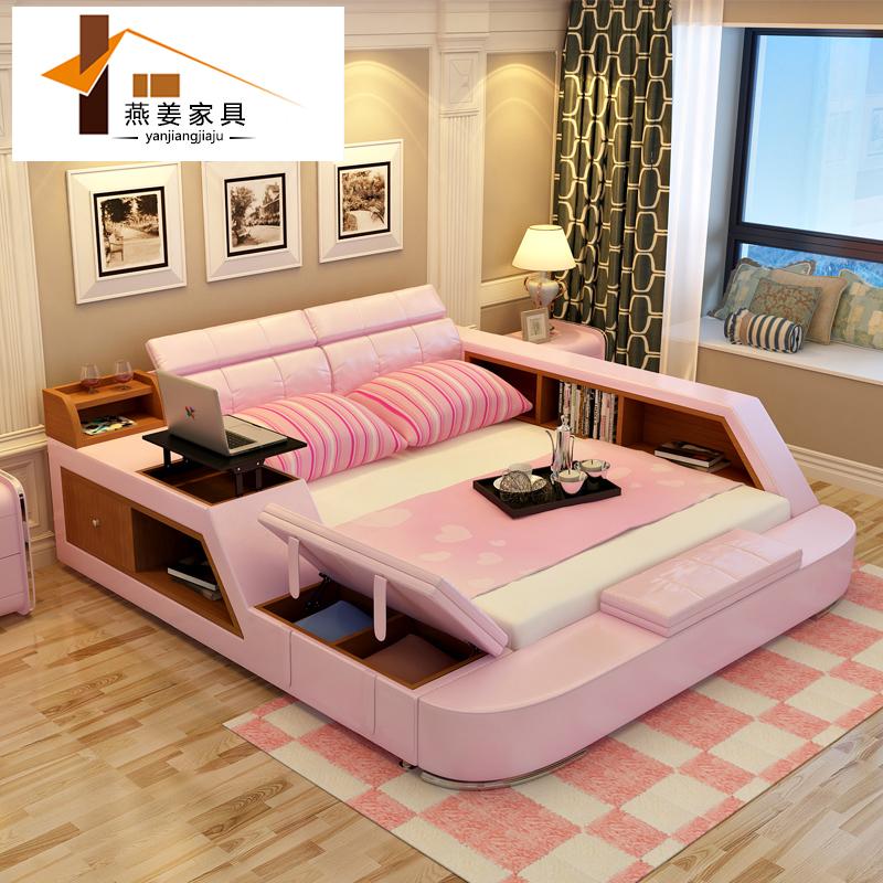 achetez en gros lit en cuir de haute en ligne des grossistes lit en cuir de haute chinois. Black Bedroom Furniture Sets. Home Design Ideas