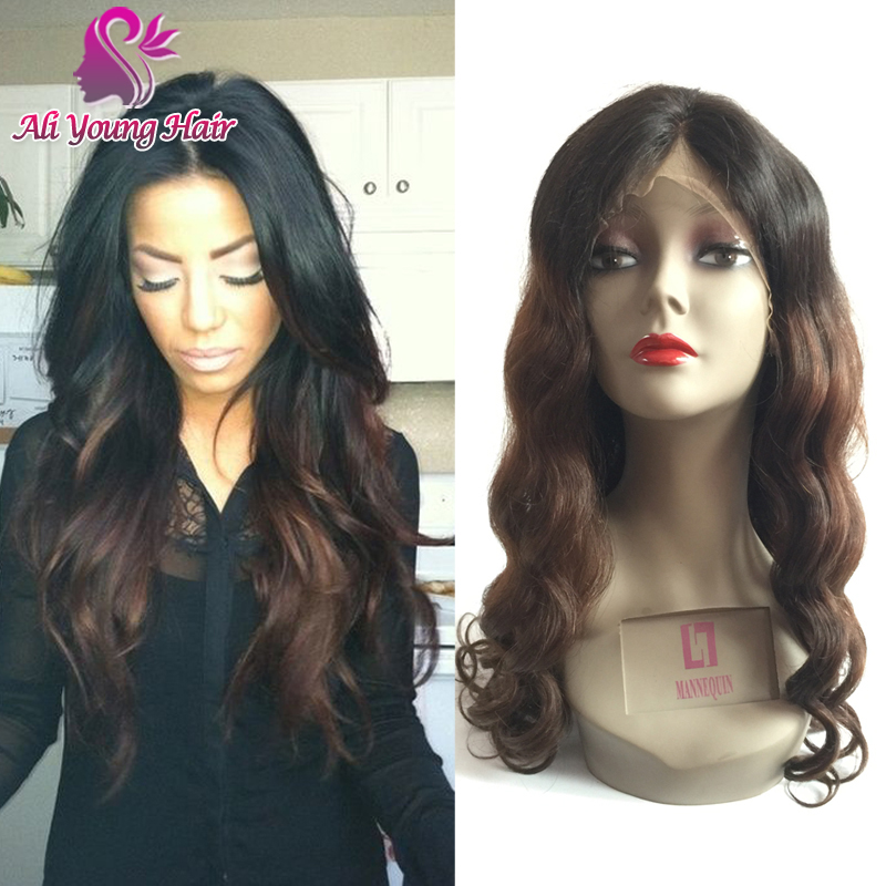 Two Tone ombre full lace wigs human hair / wavy lace front wigs color #1b/#4 virgin brazilian ombre human hair wigs for women<br><br>Aliexpress