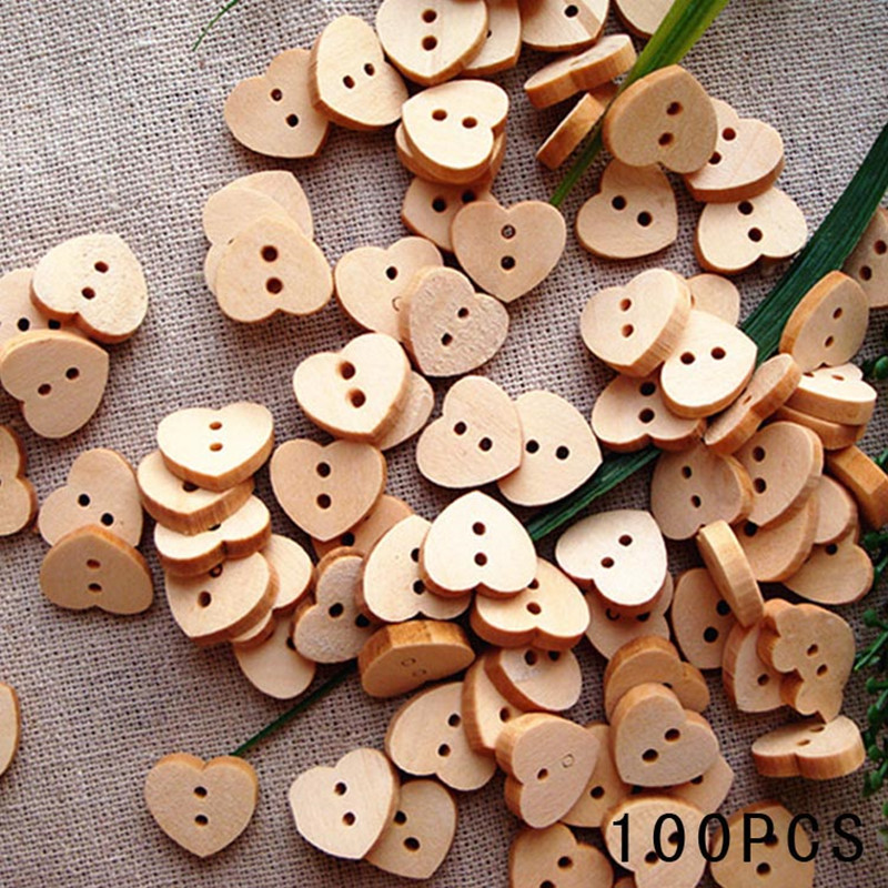 Fashion Natural Sewing Buttons Craft 100pcs/lot Heart Shaped Wooden Buttons 2 Holes Scrapbooking Products Hot sale(China (Mainland))