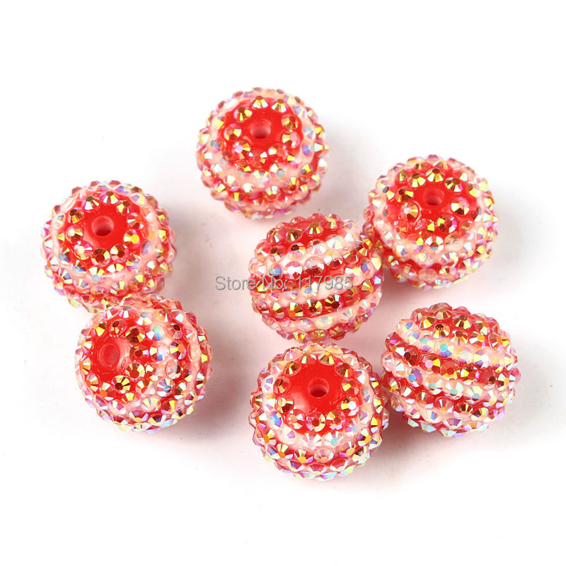 Clearance Sale 22mm 10Pcs Glitter AB Rhinestone Red White Striped Resin Beads Chunky Necklace Bubblegum Beads DIY(China (Mainland))