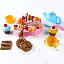 54pcs DIY Cutting Birthday Cake 5.5inch Children Kids Baby Early Educational Classic Toy Pretend Play Kitchen Food Plastic Toy(China (Mainland))