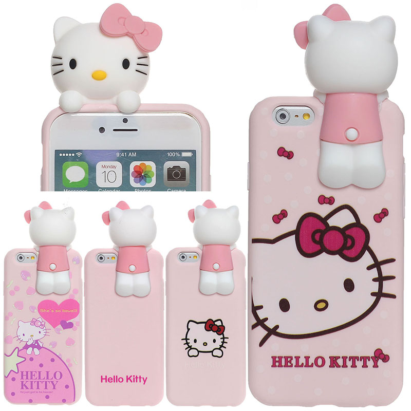 Hello Kitty Case Cover Skin Shell for iphone 6 6S 6Plus 6Splus 3D Kitty White Silicon Back(China (Mainland))