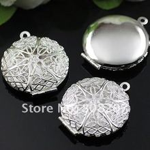 DIY 27mm Fashion Necklace,Pendant Silver European style Prayer Craft Photo Frame Locket Box,Jewelry Finding 50pcs/lot(China (Mainland))