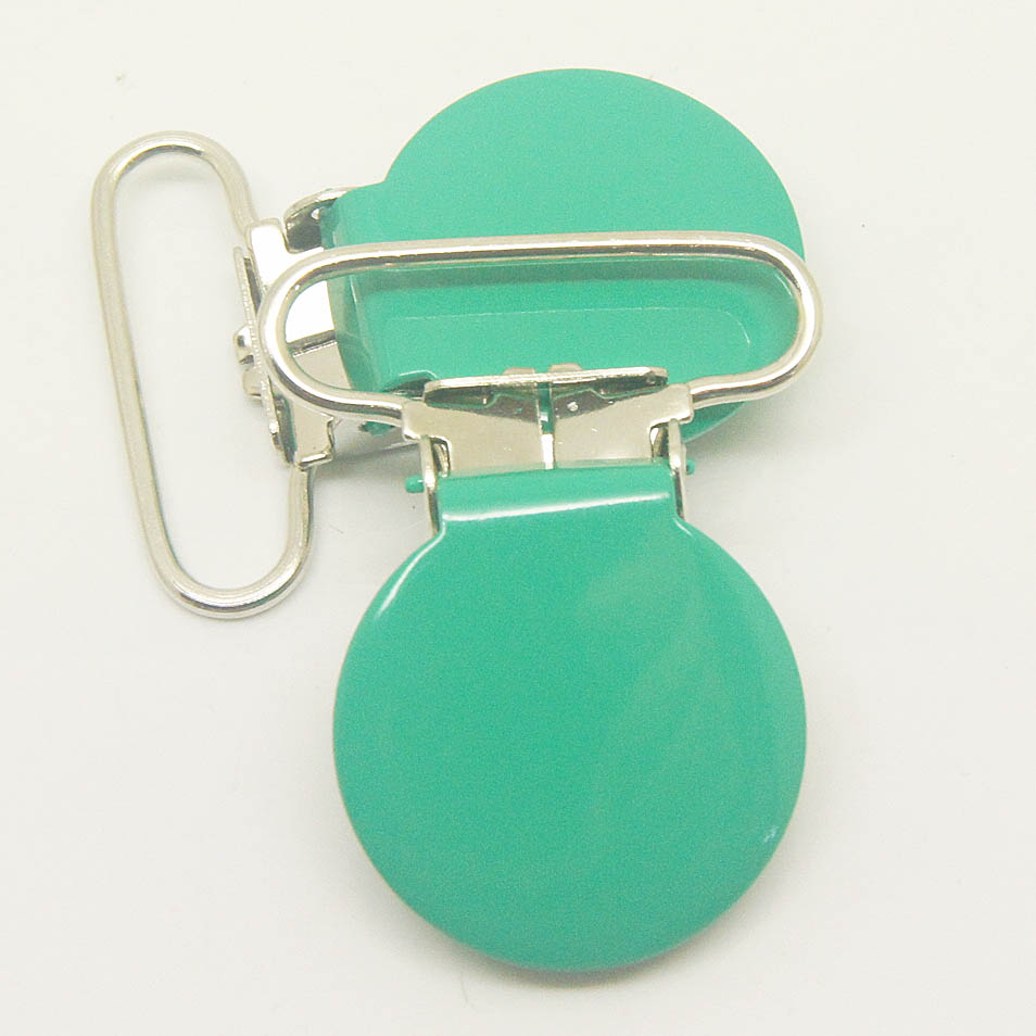 Hot selling 20,round top suspender clip bottle green 25mm ribbon pacifier clips