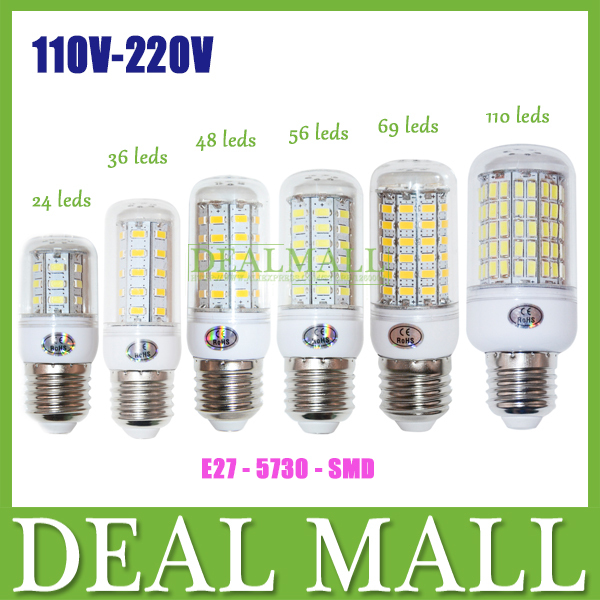 Ultra Bright 5730 SMD E27 Led Corn Bulb 9W 12W 15W 20W 25W 30W Led Lamp Lighting 24LED 36LED 48LED 56LED 69LED 110LED 220V/110V(China (Mainland))
