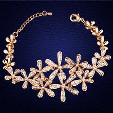 2016 calientes de la venta pulsera joyería moda flor brazalete de la pulsera por con Swarovski Elements cristal joyería para mujeres