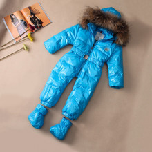 Large natural fur baby winter clothing for boys / girl jumpsuit / Child down jumpsuit with belt 4 to choose free shipping