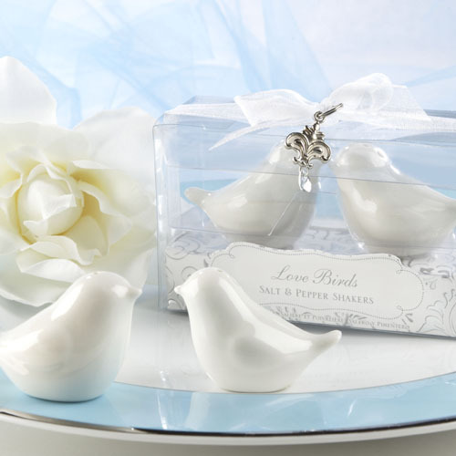 Elegant love bird salt pepper shaker in clear box with ribbon and pendant 100SET/LOT wedding favor party gift guest gift present(China (Mainland))