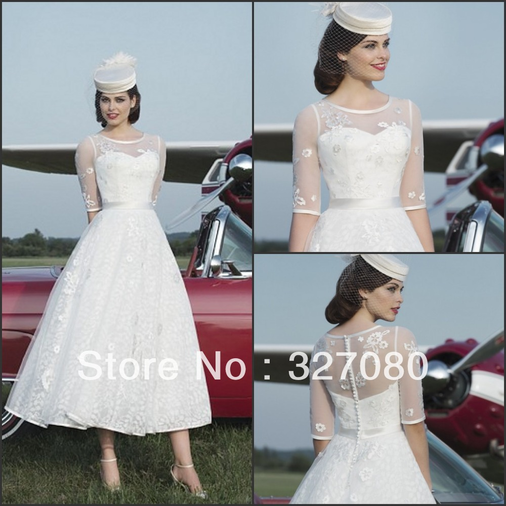 Hot Sale White Ivory Lace Mid Calf Tea Length Half Sleeve Wedding Dress Formal Bridal Gown
