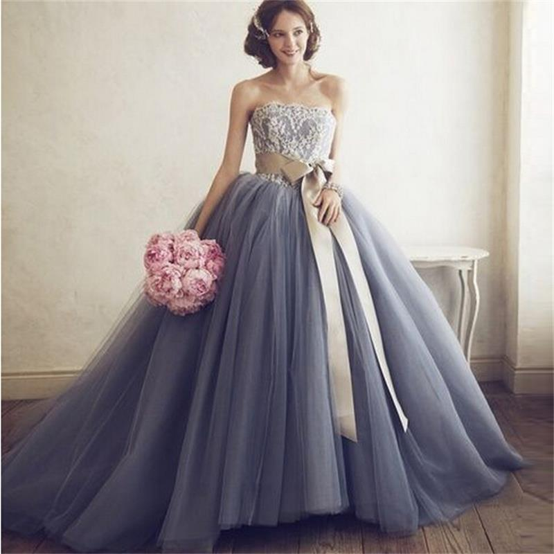 Custom ball gown grey wedding dresses 2015 strapless for Gray dresses for a wedding