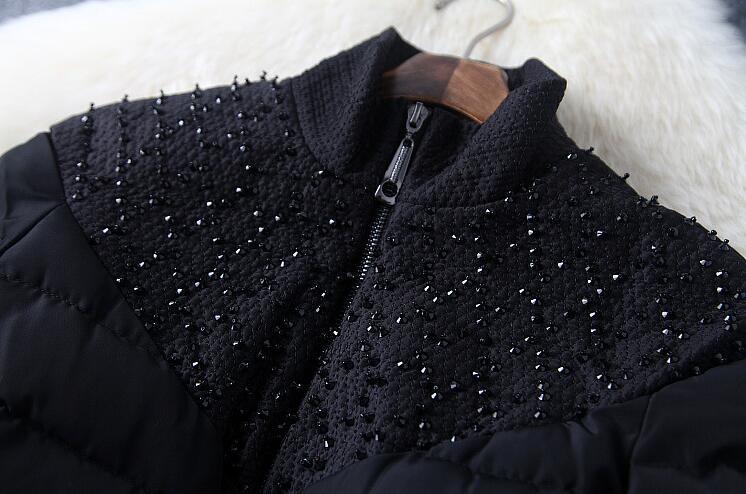 Скидки на 2016 зима новый Женщин прибытия стенд воротник из бисера вниз хлопка пальто Тонкая талия с большой свинг хем хлопок ватник T828
