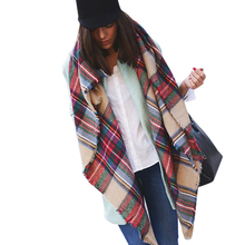 Winter 2016 Tartan Scarf Plaid Scarf cuadros New Designer Unisex Acrylic Basic Shawls Women's big size Scarves