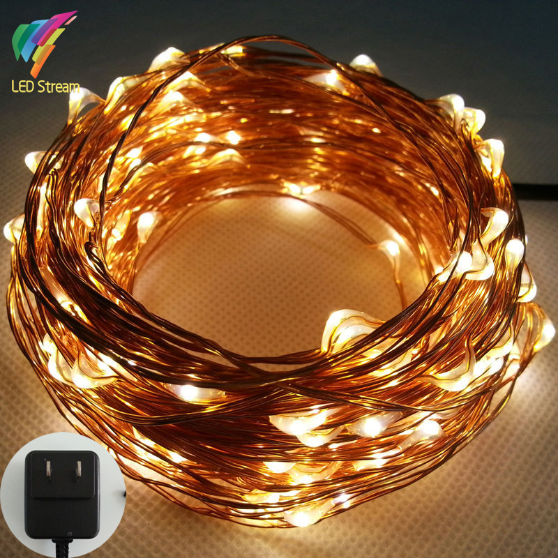20M 200 Led US Plug 100-240Vac Copper Wire String Fairy Lights Lamp Include UL Adapter for Holiday Christmas Wedding and Party(China (Mainland))