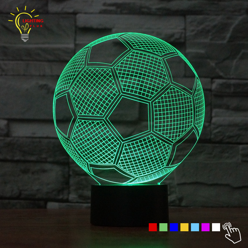 Creative LED Lamp 3D Table Desk Lamp Football Liverpool Barcelona Soccer Shape Home Decor Gadget Nightlight LED Lighting Bedroom(China (Mainland))