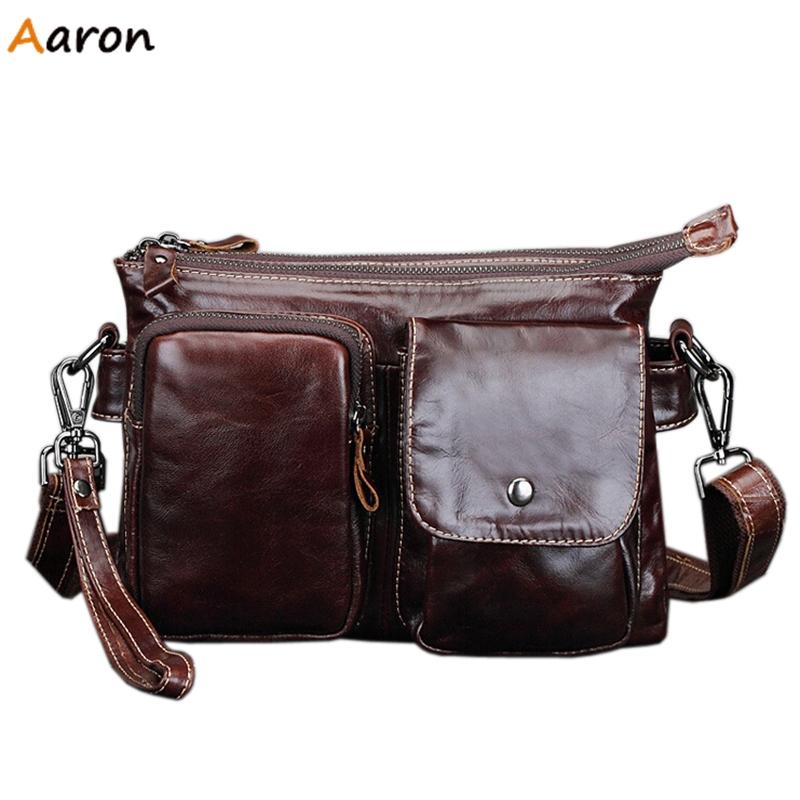 Aaron Casual Two Layers Men s Leather Messenger Bag Men s Handbag With Hand held Belt