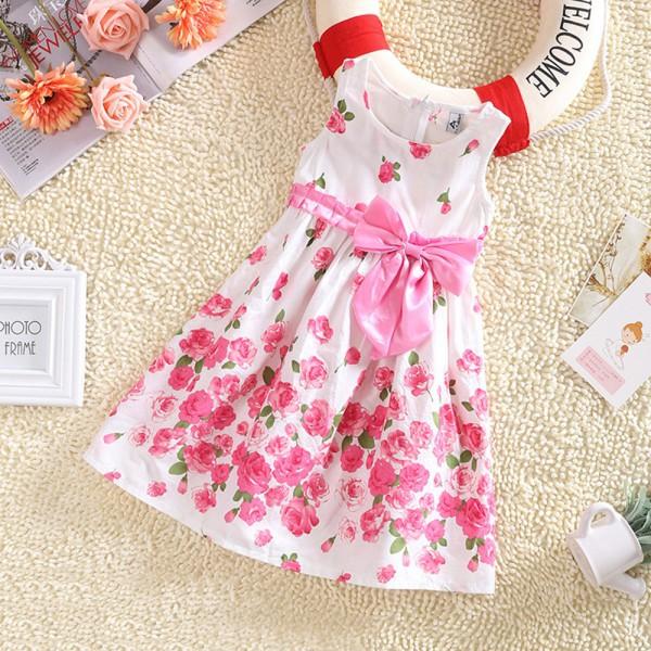 Kids Girls Sleeveless Dresses Princess Floral Bowknot Party Dress Sundress 2-6 Y<br><br>Aliexpress