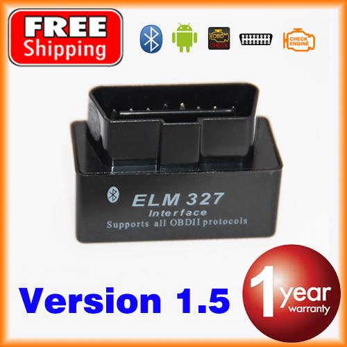 V1.5 Super Bluetooth MINI ELM327 Black OBD2 / OBDII ELM 327 Version 1.5 Car Code Scanner FREE SHIPPING(China (Mainland))