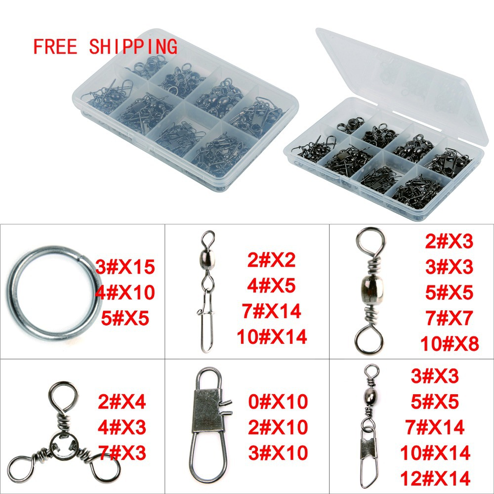 Free shipping 182pcs lot fishing lure accessory snap for Fishing swivel sizes and pound ratings