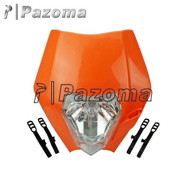 PAZOMA MOTORCYCLE Orange Dirtbike Motocross OFF ROAD Universal Headlights KTM SX EXC XCF SXF 300 Streetfighter headlamp Fairing(China (Mainland))