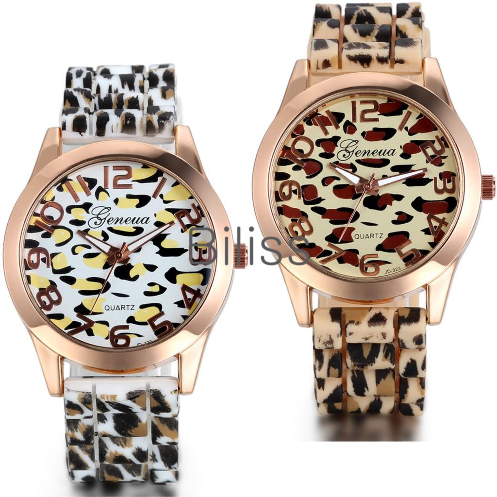 2015 Fashion Geneva Women Watches Womens Silicone Quartz Watch Leopard Design Dress Watch Relogio Feminino(China (Mainland))