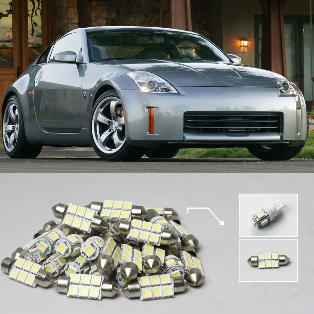 Free Shipping!! #17 6x White LED Lights Interior Package Kit For Nissan 350Z 2003-2008(China (Mainland))