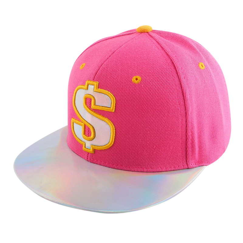 2016 new arrival custom design hip hop snapback for women men boy girl Fuchsia black pu leather brim flat peak baseball cap hats(China (Mainland))