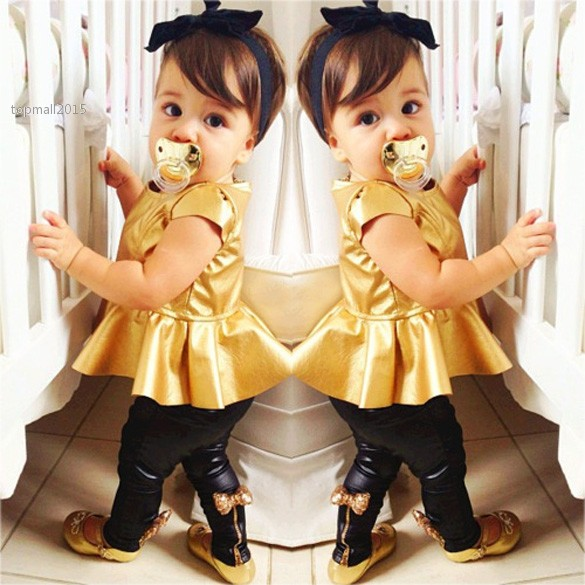 Big Discount Golden Color 7 Sizes Baby Girls Clothing Sets 2 Pieces Leggings Sets Kids Autumn Clothing Set Suits 31(China (Mainland))