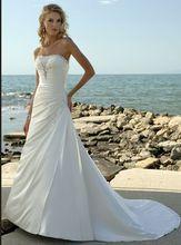 White Beach wedding dress A line strapless lace up chapel train bridal gowns custom made vestido de noivas(China (Mainland))