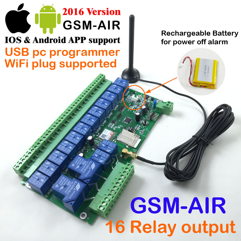 Free shipping GSM remote switch board ( GSM-AIR) / Sixteen relay output control board / Battery on board for power off alarm(China (Mainland))