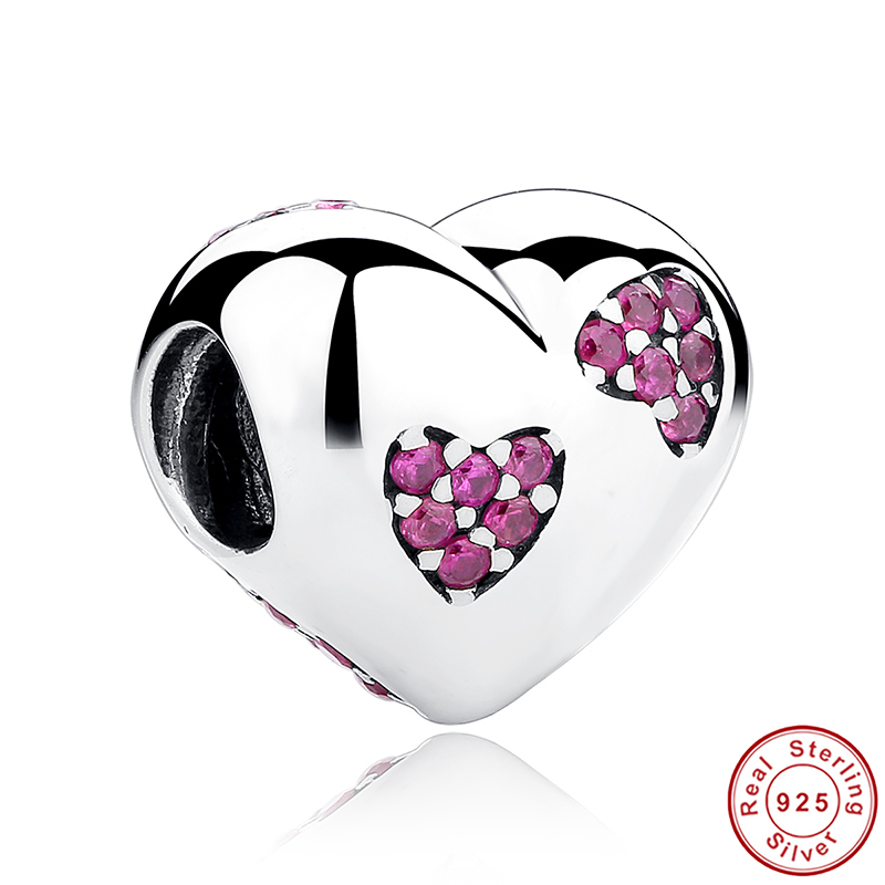 2016 New 925 Sterling Silver Pink Crystals Love Heart Charms fit Pandora Bracelets for Women DIY Accessories BAMOER PCC012(China (Mainland))