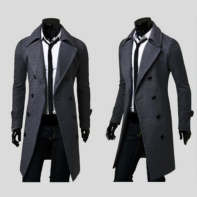 2014 fashion brand mens wool winter coats,plus size long overcoat men pea coat,M/L/XL/XXL/XXXL free shipping down jacket(China (Mainland))