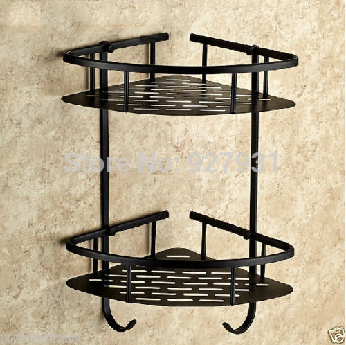 Wall Mounted Bathroom Corner Rack Display Shelf Oil Rubbed Bronze Finished Dual Tiers Storage