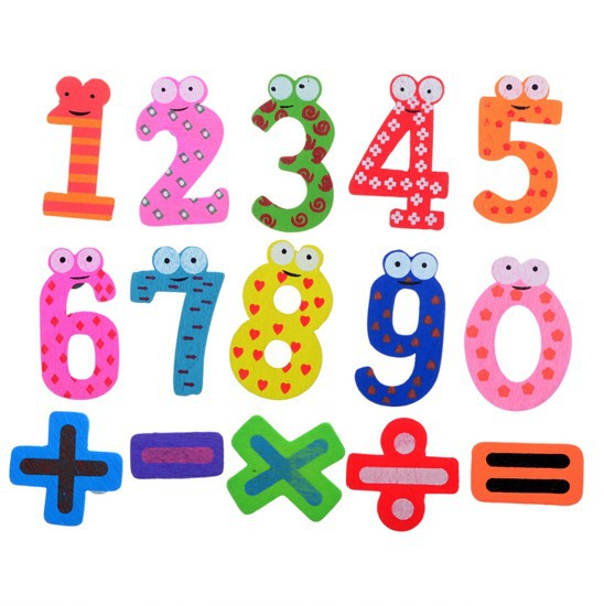 Hot Selling Set 15 Number Wooden Fridge Magnet Education Learn Cute Kid Baby Toy(China (Mainland))