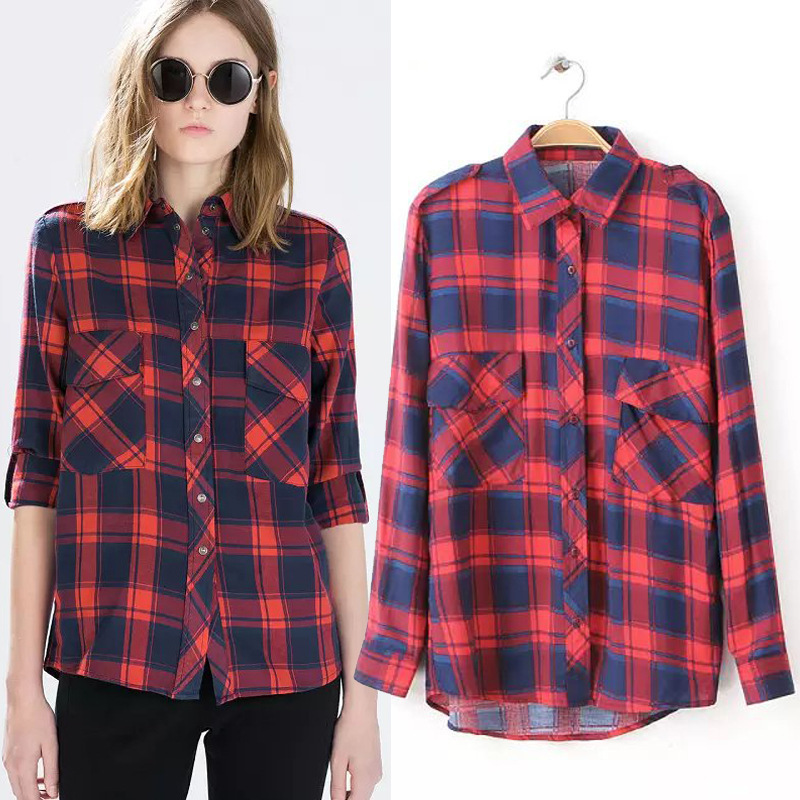 Online shop autumn spring womens checked shirt red blue Womens red plaid shirts blouses