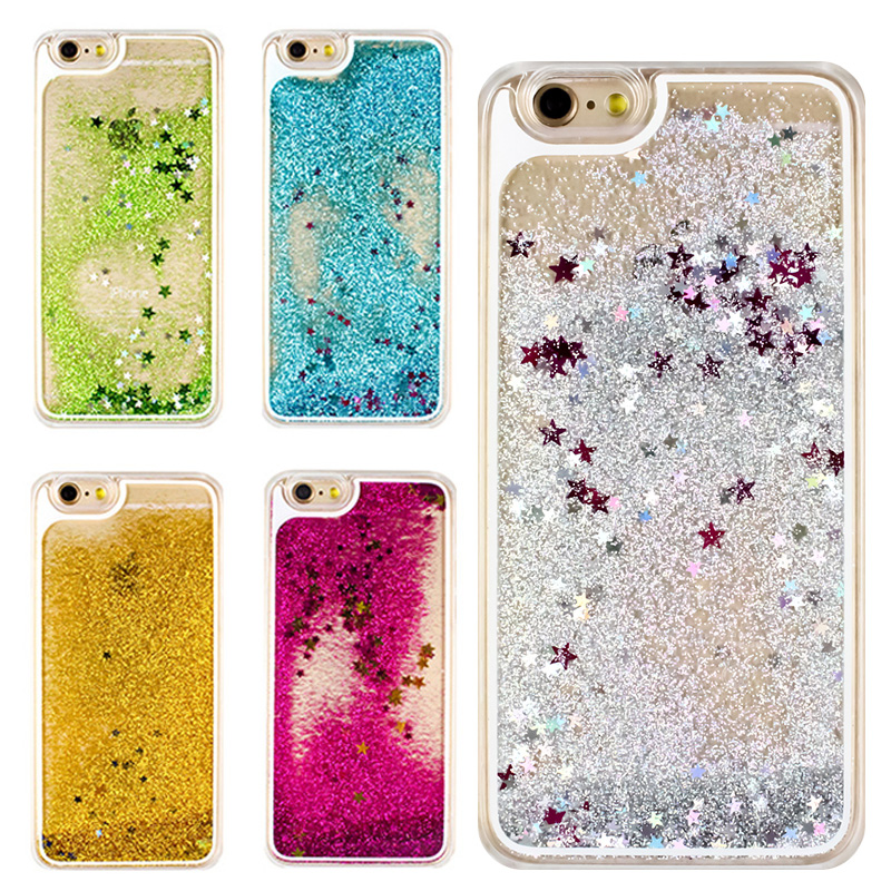 Dynamic Liquid Quicksand Glitter Star Phone Case For iPhone 6 6S Plus 5 5S SE Case Hard Transparent Meteor Twinkling Back Cover(China (Mainland))