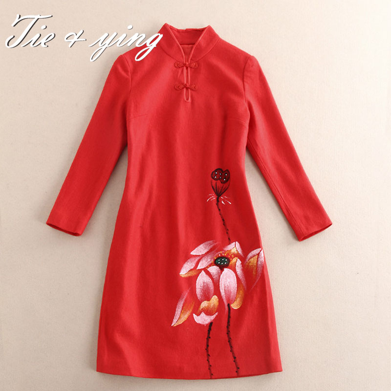 Vintage fashion women flower dress 2016 spring new Chinese style royal print black/red long sleeve puls size lady cheongsam Одежда и ак�е��уары<br><br><br>Aliexpress