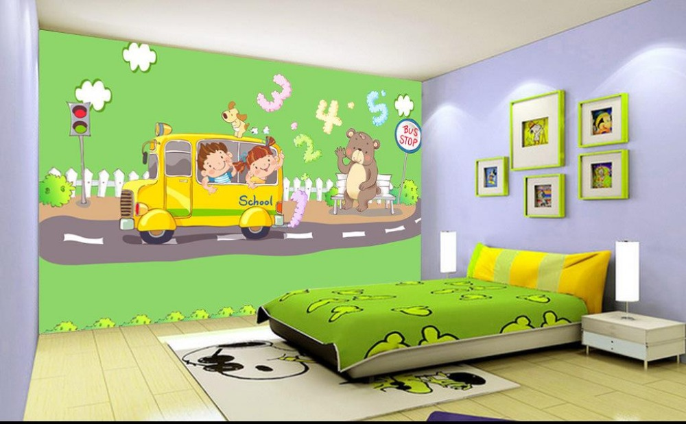 3d wallpaper custom photo non-woven mural picture cartoon school bus decoration painting 3d murals wallpaper room(China (Mainland))